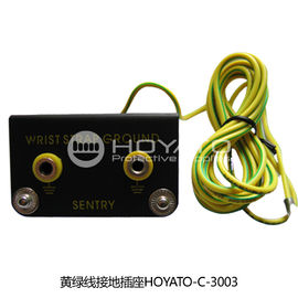 China Anti Static ESD Consumables Yellow Green Line Grounding Type Receptacle factory